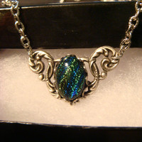 Victorian Style Blue Green Dichroic Glass Pendant Necklace in Antique Silver (1067)