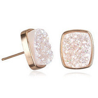 Alicia Halo Druzy Rectangle Studs, Rose Gold by Dara Ettinger | Charm &amp; Chain