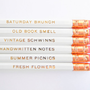 Favorite Things Pencils  White &amp; Gold Set of by AmandaCatherineDes
