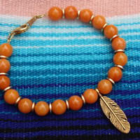 Feather Bracelet - Orange Bracelet - Orange And Gold - Beaded Bracelet - Gold Feather - Gift For Her - Boho - Chic - Mothers Day
