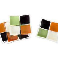 SQUARED APPETIZER PLATES | Appetizers, Plate, Four, Squares, Square, Green, Brown, Orange, White, Glass | UncommonGoods