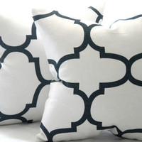 Designer Decorative natural White and jet black quatrefoil throw pillow 16 x 16