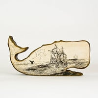 Folk Art Wooden Whale with Vintage Seafaring Image