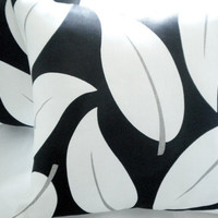 Black and white linen leaf pillow cover 18 x 18