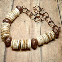 Rustic Natural Magnesite and Copper 19 inch Gemstone Necklace