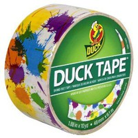 Duck Brand 280424 Paint Splatter Printed Duct Tape (Single Roll), White/Multicolor, 1.88-Inch by 10 Yards