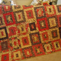 Patchwork Quilt, Brown and Red