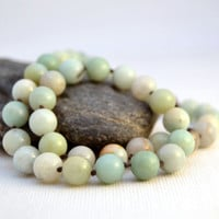 Beaded beach bracelet. Knotted wrap bracelet. Amazonite bead bracelet