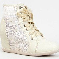 Nature Breeze DANA-12 Lace Detailed Lace Up High Top Wedge Heel Sneaker Shoe: Shoes