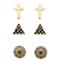 Cross, Pyramid &amp; Medallion Earring Trio: Charlotte Russe