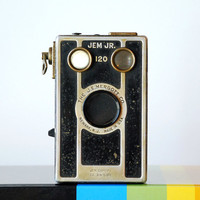 Vintage Camera Jem Jr.1940's Mid Century Antique Box Camera Black Silver