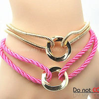 Cuff Leather Fashion Style Buckle Bracelet Pink Leather Personalized Bracelet 2240S