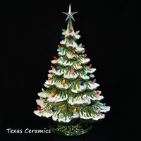 Ceramic Christmas Tree with Snow 22 Inches Tall with Star Color Lights