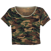 ROMWE | Camouflage Green Midriff T-shirt, The Latest Street Fashion