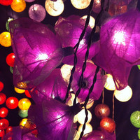 20  purple handmade real leaf Rose flower leaf string light patio decoration wedding bedroom living room party lantern
