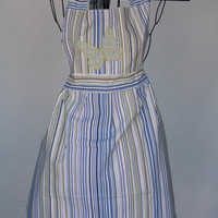Shabby Striped Full Apron - Upcycle
