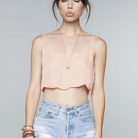 Brand Melville pink scalloped crop top