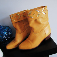 leather southwestern mustard yellow cuffed slouch boot. the Wild Pair. made in Brazil. gold aztec design. size 7B