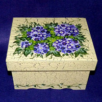 Elegant Keepsake Box Wood Treasury Box Wedding Memory Box Purple Hydrangeas Love Notes Box Crackle Antique Look Victorian Card Box Custom