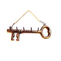 Vintage Key Holder / Brass Skeleton Key Hooks