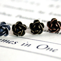 Vintage Oxidized Petite Rose Earrings, Studs, Sweet, Simple, Copper, Silver, Brass, Bridesmaid Jewelry, Gift Under 15