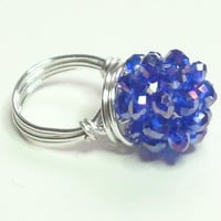 Sapphire Blue Beaded Bead Silver Wire Wrapped Ring