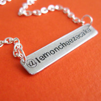 Personalized Twitter Necklace in aluminum hand by SpiffingJewelry
