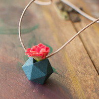 Miniature Icosahedron in Aqua: A Wearable Planter
