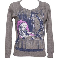 Ladies Grey Marl Alice In Wonderland By Lewis Carol Long Sleeve Raglan Pullover From Out Of Print : TruffleShuffle.com