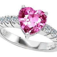 Original Star K(tm) 8mm Heart Shape Created Pink Sapphire Engagement Ring: Star K: Jewelry