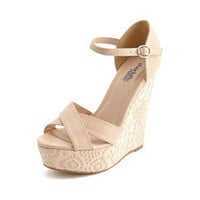 X-Front Lace Overlay Wedge: Charlotte Russe