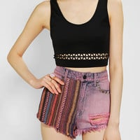 Sparkle & Fade Laser-Cut Cropped Tank Top