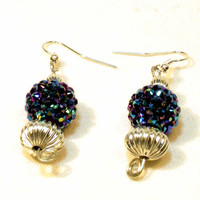 Blue Sparkly Beaded Earrings