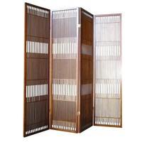 ORE International  Black 4 Panel Wooden Screen Room Divider