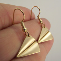 Matte Gold Plane Origami Earrings, Gold Earrings