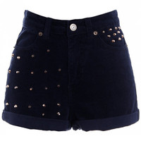ROMWE | Riveted Blue Velet Shorts, The Latest Street Fashion