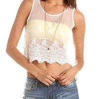 Embroidered Butterfly Mesh Tank: Charlotte Russe