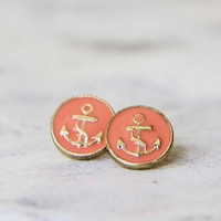 Anchors Away Stud Earrings in Peach, Sweet Bohemian Jewelry