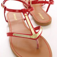 Red Patent Strappy Metal Thong Sandals