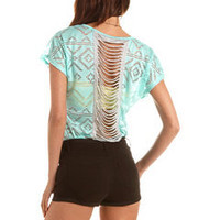 Slashed Back Aztec Burnout Tee: Charlotte Russe