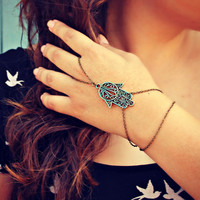 hamsa slave bracelet, hand of fatima, turquoise accessory, unique bracelet, patina hamsa