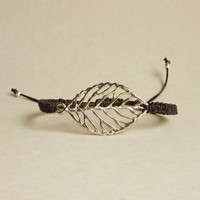 Silver Tone Leaf  Black Friendship Bracelet  - Gift under 15