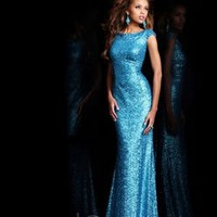 Charming Bateau Floor-length Sheath _ Column Sequined Blue Evening Dresses [10129098] - US$229.99 : DressKindom