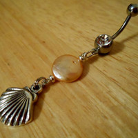 Belly button ring Belly button ring with pearl by ChelseaJewels