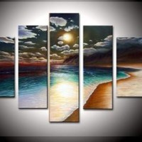 100% Hand-painted Free Shipping Wood Framed on the Back Artwork the Yellow Beach High Q. Wall Decor Landscape Oil Painting on Canvas 5pcs/set Mixorde