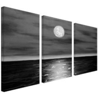 Art Wall 3-Piece Moon Rising Gallery Wrapped Canvas Art by Jim Morana