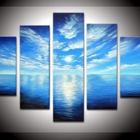 100% Hand-painted Free Shipping Wood Framed on the Back Artwork Blue Ocean White Clouds Ready to Hang Wall Decor Landscape Oil Painting on Canvas 5pcs/set Mixorde