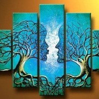 100% Hand-painted Free Shipping Wood Framed on the Back Oil Wall Art Blue Tree Human Body Home Decoration Landscape Oil Painting on Canvas 5pcs/set Mixord