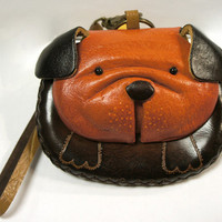 Leather Bulldog Pug Puppy Coin Purse Wristlet