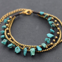 Turquoise Chain Adjustable Bracelet